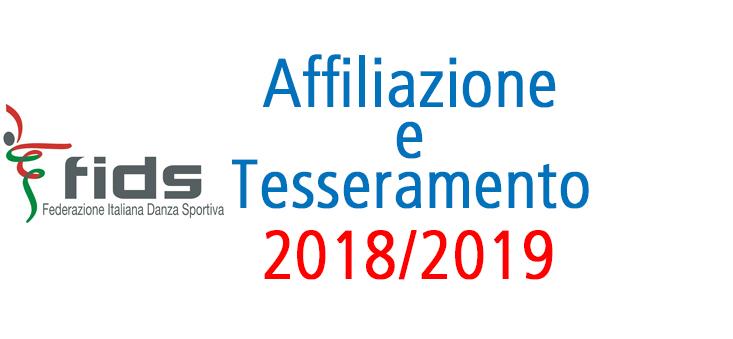 Stagione Sportiva 2018-2019 il nuovo Tesseramento FIDS